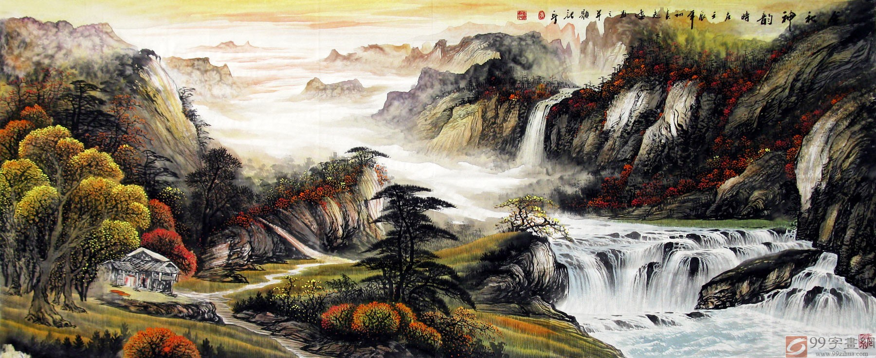 客厅写意山水画作品 - 写意山水画 - 99字画网