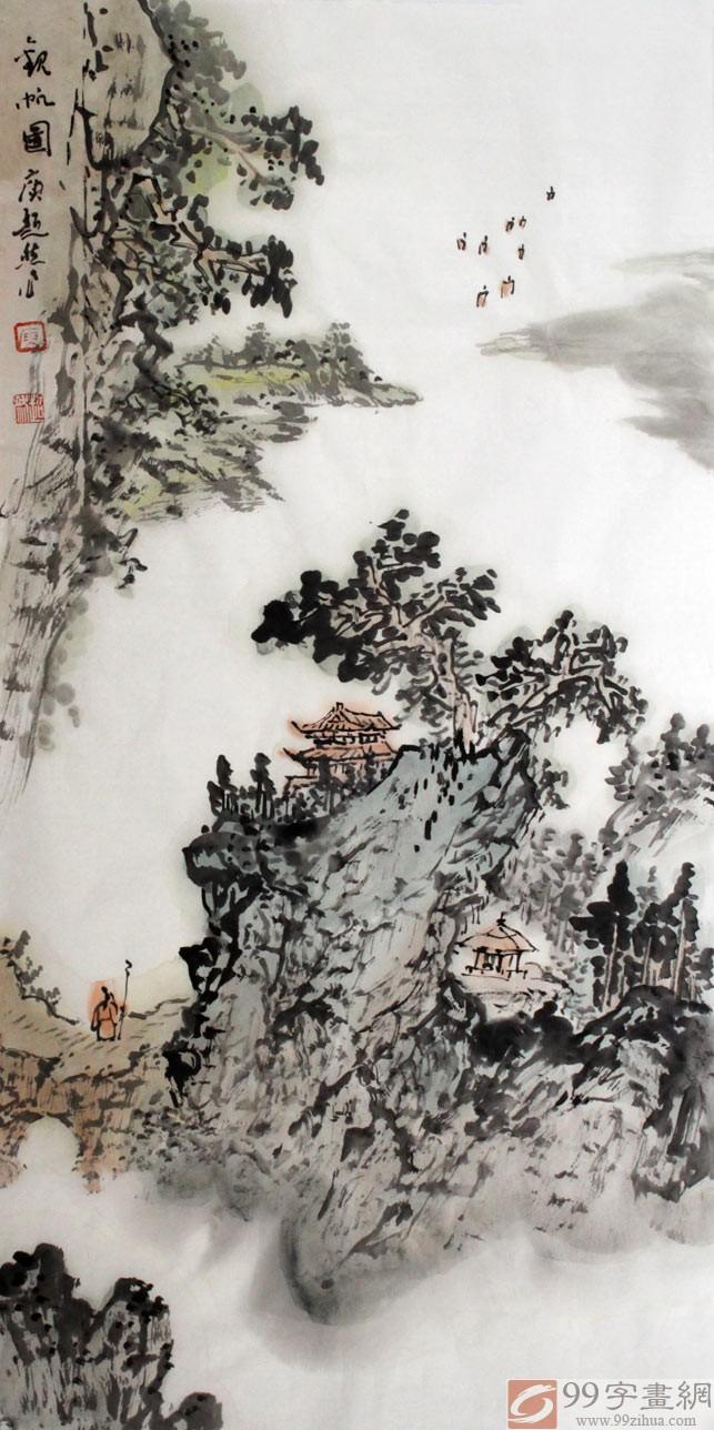 首页 山水画 写意山水画  【作品简评】 观庾超然的花鸟画,人物画,有