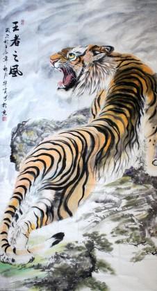 六尺国画招财精品上山虎《王者之风》