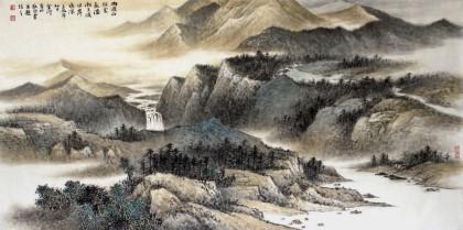 国家画院名家刘金河四尺山水画《雨过山头云气湿》