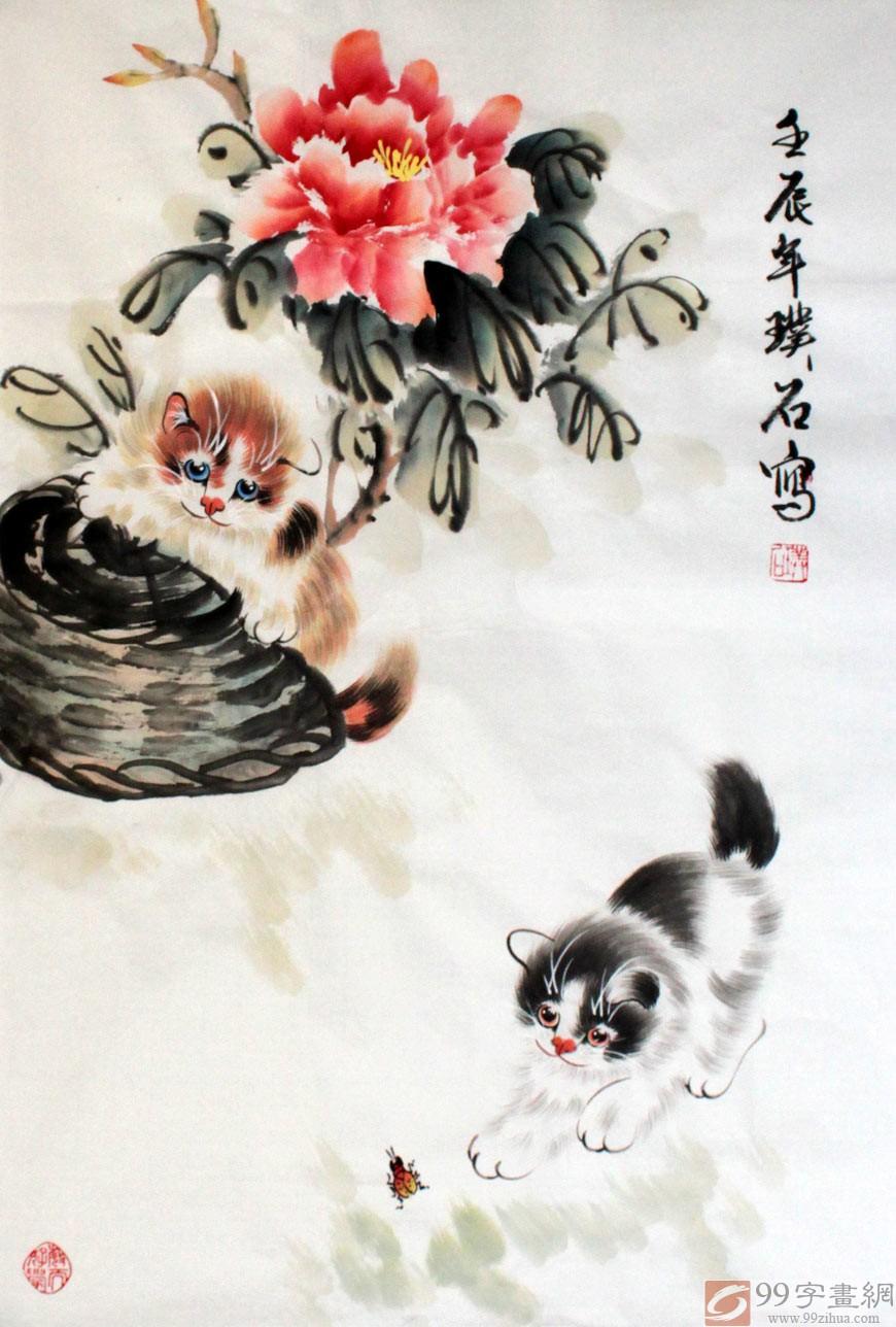 装裱时间一般需要3-4天  国画猫《双猫图》把动物可爱的一面刻画的