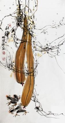 【已售】李明成三尺秋收丝瓜图《秋声》