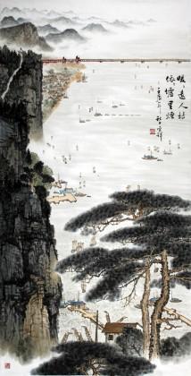 杜云祥四尺山水《暖暖远人村》