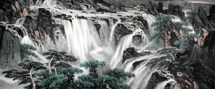 中国美协王石帆八尺山水《春色飞瀑》