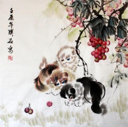 写意国画小猫作品 - 国画猫 - 99字画网