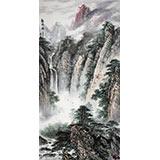 著名画家王凌云四尺山水《观瀑图》