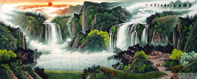 后面的高山--后有靠山;左有青松--招财树;右有大树--档灾树;将此风水