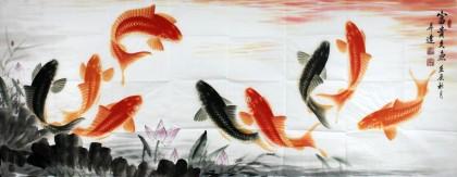 中国画院周升达小六尺《富贵久鱼》