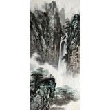 著名画家王凌云三尺山水《黄山观瀑图》