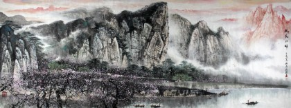 著名画家王凌云小八尺酒店大厅山水《桃花江畔》
