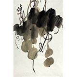 【已售】中美协肖映梅四尺三开名家书画葫芦《五福同春》