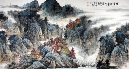 【已售】山水名家郑庆年六尺易经风水《祥云耀华门》