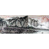 【已售】著名画家王凌云小八尺酒店大厅山水《桃花江畔》