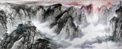 著名画家王凌云小八尺山水《烟云黄山图》