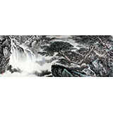 著名画家王凌云小八尺山水《松云观瀑图》