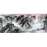 【已售】著名画家王凌云小八尺山水《烟云黄山图》