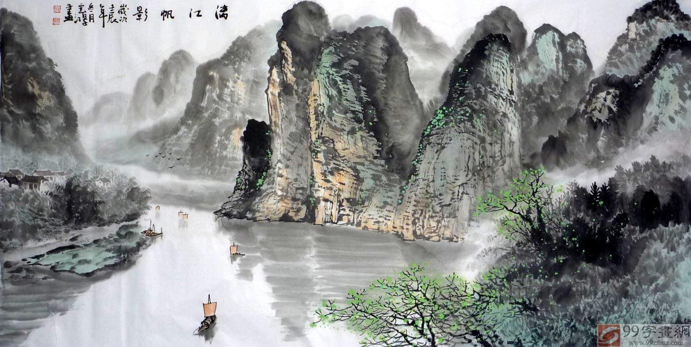 【作品简评】在广西美术界,黄云鸿是一位有着扎实绘画功底和文化素养的画家,这位生于桂林的画家对桂林山水拥有的深厚情感,让其一次次的拿起画笔展现其对家乡山水的热爱。在既其花鸟斗方小品画受到了99字画网众多藏家的广泛赞誉后,我们又大量收购了黄云鸿历年创作的山水画精品。黄云鸿将神秘而又美丽的桂林山水美景在细腻线条和精妙的构图中展现出来。画中对桂林山水相依的美景进行的个性表达,不仅让人感受着笔墨的韵味,也让人体现着感性表达下的家乡山水所具有的独特魅力,山山水水,情真意切!