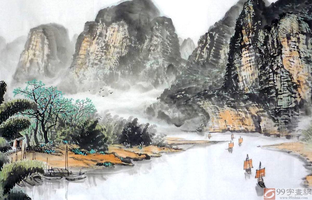 桂林风景国画 - 写意山水画 - 99字画网