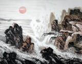 中国美协 山水名家王石帆 八尺《福山寿海旭日祥云》(询价)