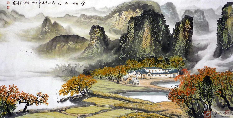 广西大学美景_客厅山水画 - 写意山水画 - 99字画网