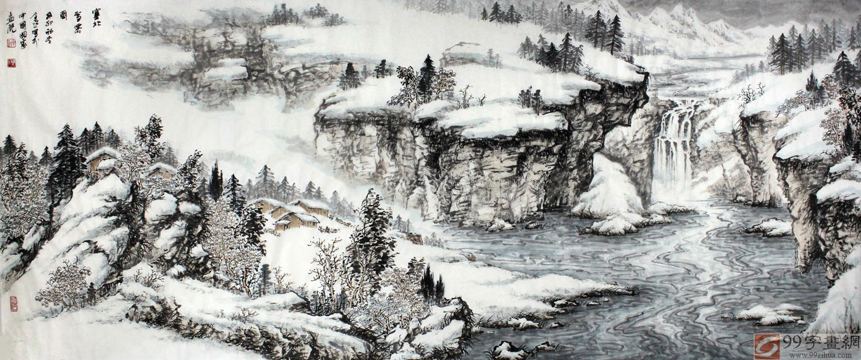 雪景国画山水 - 写意山水画 - 99字画网图片