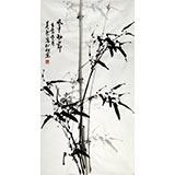 【已售】章昊然三尺墨竹图《风中劲节》