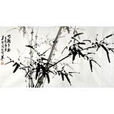 【已售】章昊然三尺翠竹国画《竹报平安》
