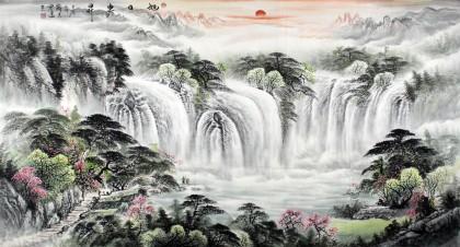 张宏达六尺聚宝盆风水画《旭日东升》