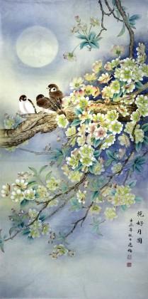 山东美协赵逸梅四尺花鸟画《花好月圆》