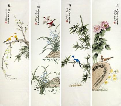 工笔画梅兰竹菊 - 花鸟画 - 99字画网