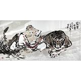 魏武双四尺精品国画《罗汉伏虎》(询价)