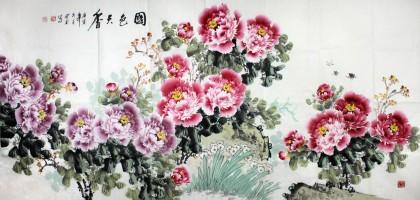 王宝钦八尺精品牡丹图《国色天香》(询价)