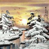 【已售】中国冰雪画派著名画家高宏四尺斗方《霞光映雪》