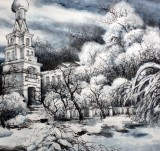 冰雪画派名家高宏俄罗斯风情《瑞雪》