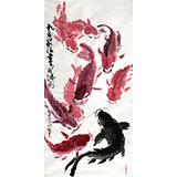 当代著名禅意画家周自豪三尺《九鱼聚福》(询价)