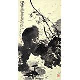 当代著名禅意画家周自豪三尺国画荷花图《墨荷图》(询价)