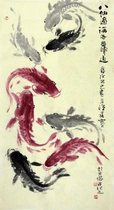 当代著名禅意画家周自豪三尺《八仙过海》