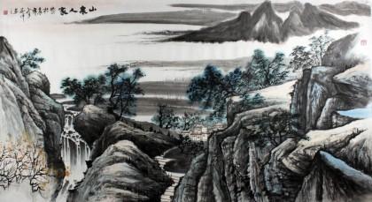 山水画家刘洋六尺《山泉人家》