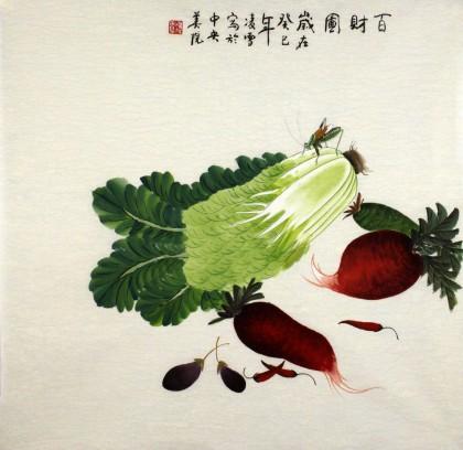 凌雪四尺斗方餐厅果蔬画《百财图》