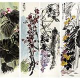 中国美协会员庞银时四尺花鸟画四条屏