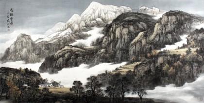 他笔下的山水画作品苍茫而厚重,沉着而清秀,流水潺潺,树木旺盛,烟云