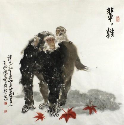 国画猴 猴子的风水意义 - 动物画 - 99字画网