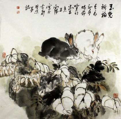 著名动物画家王向阳国画兔子玉兔祈福 - 动物画 - 99