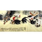 河南美协王向阳精品四尺《九鸡卧雪图》(询价)
