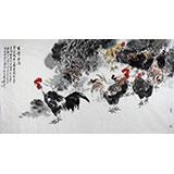 画鸡名家王向阳六尺精品国画雄鸡图《吉祥如意》(询价)