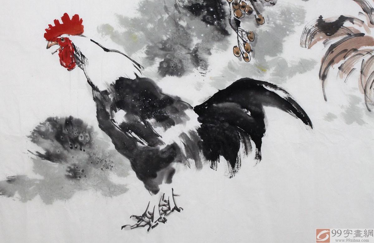 画鸡名家王向阳六尺精品国画雄鸡图《吉祥如意》