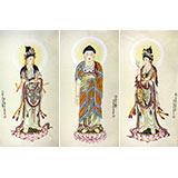 【已售】董书林四尺客厅菩萨佛像《西方三圣》