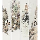 中美协庞银时写意最新博彩大全四条屏《春来遍是桃花水》