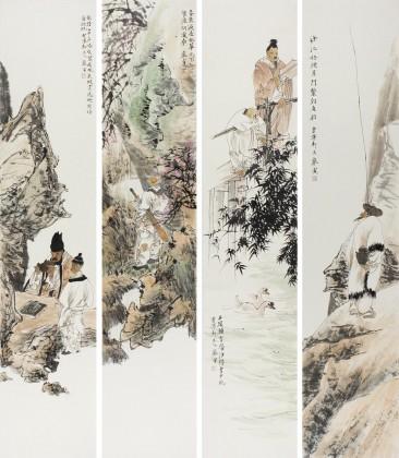 中美协庞银时写意人物画四条屏《春来遍是桃花水》