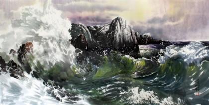 朝鲜一级艺术家 京敏《大海》